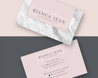 Business Cards, Calling Card, Marketing, Business, Elegant, Modern, Chic, Photoshop, Editable, Customisable, Design, marble, pink