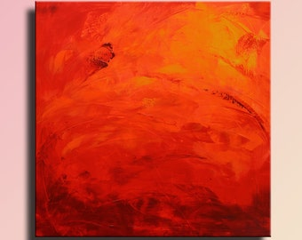 ABSTRACT PAINTING Red Orange Yellow Painting Original Canvas Art Abstract Modern Art 36x36 Wall Art Home Decor #26FC