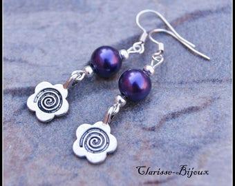 Purple pearl beads earrings, earrings Silver Flower Earrings Pearl Earrings fiore argento