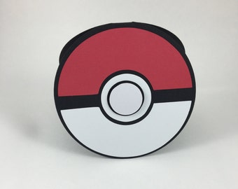 Invitations, Poke Ball Shaped Birthday Party Invitation set of 10 for your Pokemon Go Event