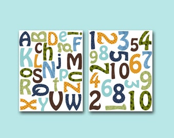 Alphabet Nursery Numbers Nursery Print Baby Boy Nursery Art Print Nursery Wall Art Kids Room Decor Kids Art Print set of 2 Orange Green