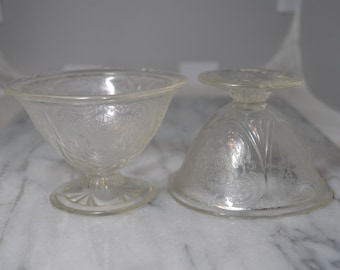 Pair of Vintage Crystal ROYAL LACE Footed Sherbet Dishes – Elegant Pattern Wonderful Depression Glass Pieces – Hazel Atlas Glass