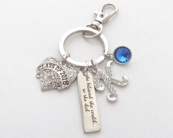 Personalized Class of 2018 Graduation Keychain for her, High School Graduation, College Graduate gift, She believed she could so she did