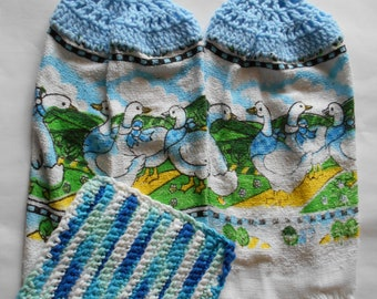 Two Blue Hanging Towels with Crocheted Dish Cloth