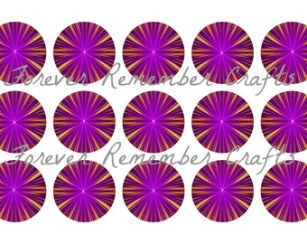 INSTANT DOWNLOAD Gold & Purple Abstract 1 Inch Bottle Cap Image Sheets *Digital Image* 4x6 Sheet With 15 Images