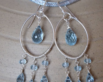 Blue Topaz Hoop drop earrings with large blue topaz faceted teardrops, oval silver hoops & blue topaz roundel gemstones, 925 sterling silver