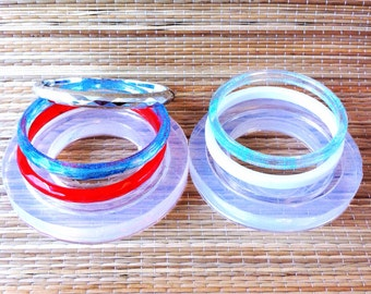 Clear Silicone Rubber Mold for thin crystal and smooth bracelets (MB046)