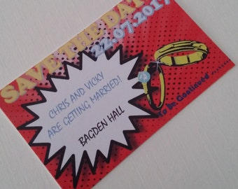 Comic Book Super Hero Ring Save the Date Credit Card Sized