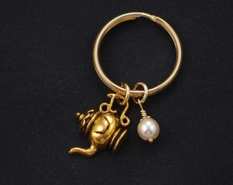 tea kettle keychain, gold filled, Swarovski pearl choice, gold teapot charm keyring,whimsical jewelry, tea lover, teapot keyring accessory
