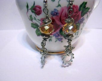 Steampunk/ Golden/Glass/ Gear/Dangle/ Wire Wrapped Earrings-Gift