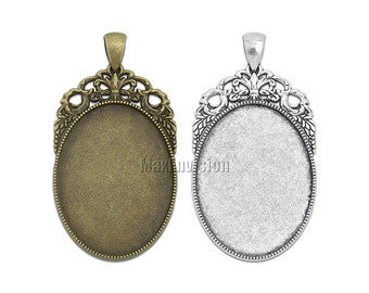 30x40mm Oval Pendant Tray Pendant Blank Bases Cameo Cabochon Base Setting fit 30x40mm Oval Cabochons 20 M212