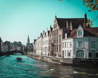 Brugge Belgium Europe Architecture Building River Boats Swans - Swan Song
