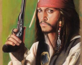 Jack Sparrow with gun Prints