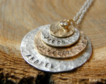Hand Stamped Jewelry - Personalized Your Charm - Two Tone Necklace -  gold filled and sterling silver with CZ - 4 discs -Simag