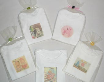Baby Bodysuits, 5 Wholesale Lot, One piece baby, Gift Packaged, 100% cotton knit, short sleeve, Vintage images, Samples