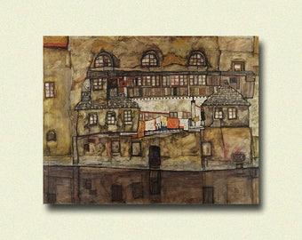 Egon Schiele Print - House Wall On The River - Schiele Art Print Schiele Poster Art Reproduction Gift Idea