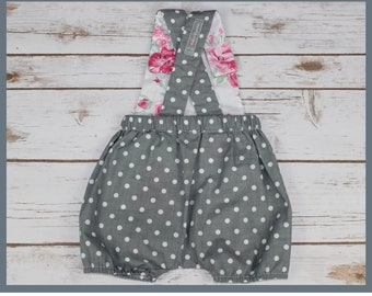 romper 6 months, spring romper, shorts, overalls, grey and polka dots on pink background, retro, vintage