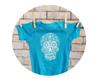 Sugar Skull Baby Bodysuit, Infant Creeper, Turquoise Blue, Baby One Piece, Day of the dead Onepiece, Screenprinted Shirt, Baby Clothing