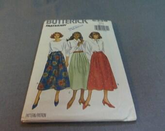 Womens, Womens Petite Modest Skirt, Midi Length, Size 6, 8, 10, Uncut Pattern, Butterick 6358