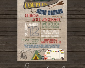 Outdoor Camping Adventure Baby Shower (or any event) - Print your own or professional prints/envelopes