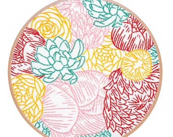 FLORAL PROFUSION embroidery kit - hand embroidery kit, embroidery hoop art, floral embroidery, flowers, embroidery pattern by StudioMME