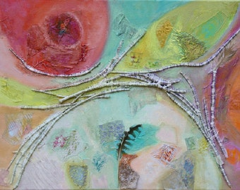 Abstractl mixed media painting , colourful and original artwork, pink and turquoise
