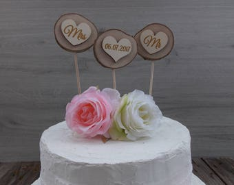 Cake topper / natural wood / wedding / date