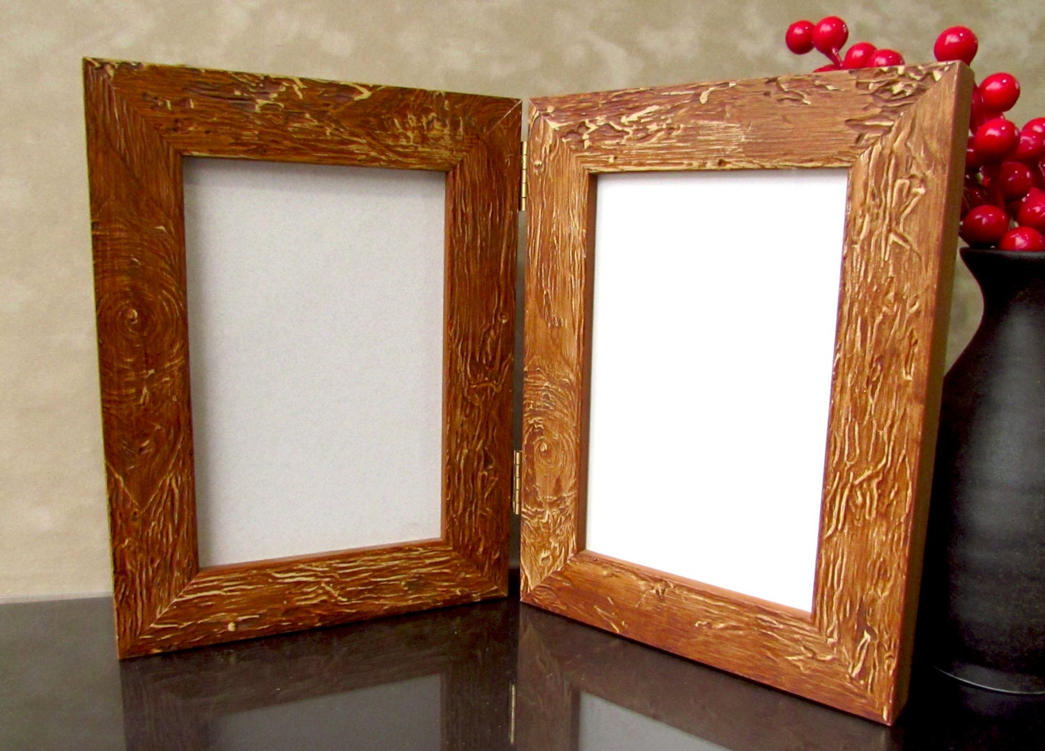Light Brown Rustic Hinged Photo Frame 4 x 6