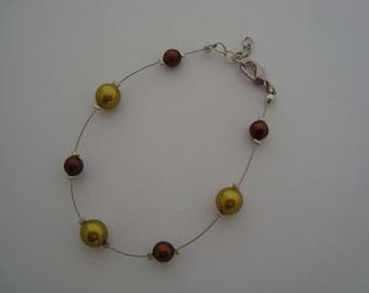 Simple green and Brown beaded bracelet