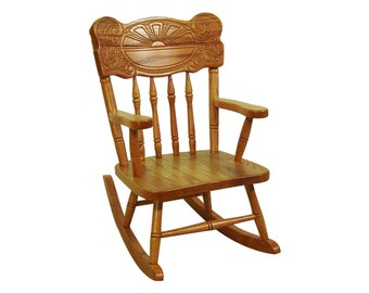Sunburst Childs Rocking Chair Amish Made Solid Oak Wood Kids Rocker!