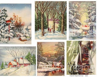 Wintry Scenes 1 Digital Collage from Vintage Christmas Greeting Cards -  Instant Download - Cut Outs