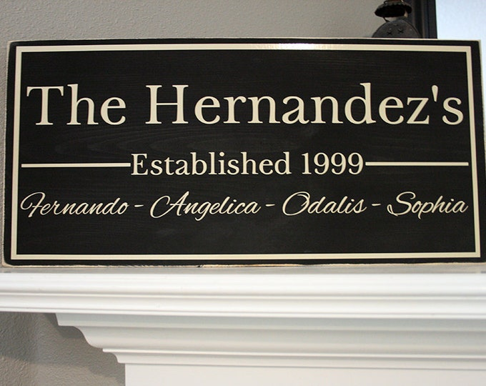 """24x12"""" Family Established Date Wood Sign - Great For Wedding & Housewarming Presents!"""