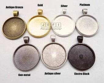 10 Pendant Trays 25mm ( 1 inch) Round Bezel Setting W/ Loop Antique Bronze/ Antique Silver/ Silver/ Gold/ GunMetal/ Platinum/ Electro Black