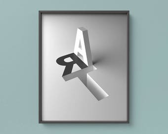Art Inscription, 3D Letters Poster, Minimal Geometric Print, Modern Printable Poster, Modern Wall Art, Black & White poster