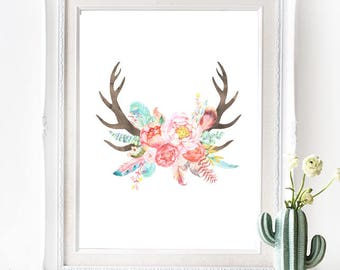 Floral Antlers Poster - INSTANT DOWNLOAD - Southwest Native American Bohemian inspired Digital Art Print, Wedding Art, Printable, Nursery
