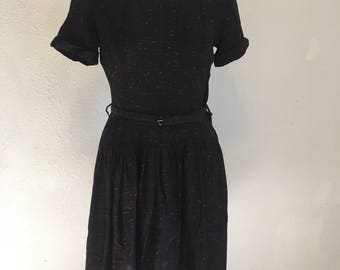 vintage black dress with lace collar, vintage short sleeve dress, 36-32-50