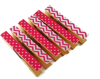 Decorative Clothespins Altered Clothespins   Funky Clips in  Best Friends - Hot Pink