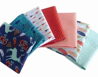 Lot tissu sud-ouest, cerf, plumes, couette tissu, 3 souhaits Pachua, Fat Quarter Bundle, Bundle 1/2 Yard ou 1 Yard lot de 7, coton