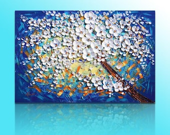 Hand-painted wall art picture living room bedroom decor abstract White blue flower tree thick palette knife oil painting on canvas By Lisa