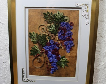 Frame, decorative frame, paper art, quilling art, quilled grapes, gold frame, home décor, hanging frame