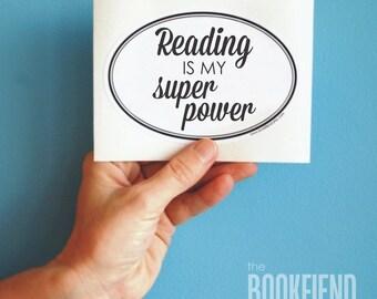 reading is my super power oval bumper sticker