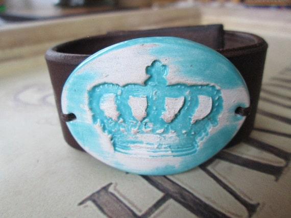 Ceramic Leather Cuff, Leather Bracelet, Western Leather Cuff Bracelet, Cuff, Leather Cuff Bracelet