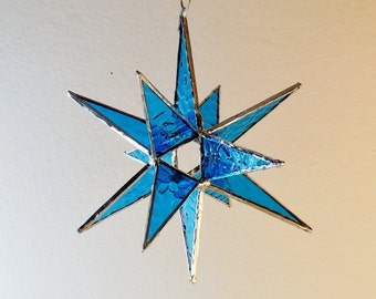 12 Point Moravian Star. Blue Star. Stained Glass Star.