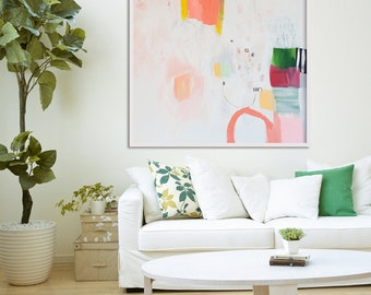 "LARGE abstract, giclée print, abstract print, white, pink, yellow, green, ""Hidden Snapshot"""