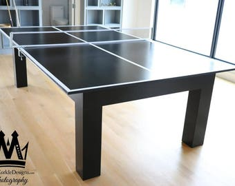Contemporary Pingpong table with black onyx finish,  and white pin stripes! Order your custom ping pong table tennis game today!