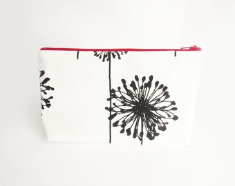 Clutch purse - in Black Dandelion - Personalized Wet bag - Cosmetic Case - Bridesmaid Clutches - Wedding Gifts