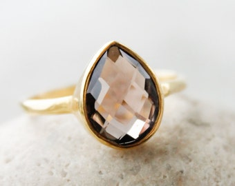 Gold Smokey Quartz Ring - Teardrop - Stacking Ring, Hammered Band