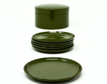 Vintage Coasters Olive Green Lacquer Danish Modern Style Round Coaster Set of 6 with Lidded Box 1970s OMC Japan