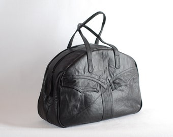 Black leather bag, up-cycled leather coat bag