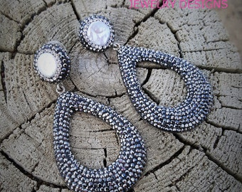 LUXE sterling silver dangle teardrop w/ hematite silver swarvoski crystal pearl earrings